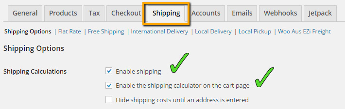 Enable Shipping in WooCommerce