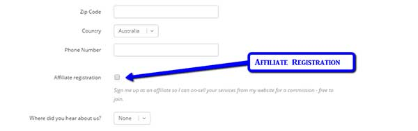 affiliate registration for Australian web hosting